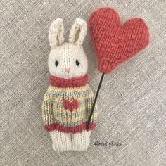 """Gudrun Dahle on Instagram: """". 🧶🐰 Another bunny in stripes 🐰🧶 .  The heart is not for sale, but you can make one with the excellent pattern from @krisbopatterntoy  .…"""""""