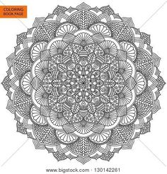 Outline Mandala For Coloring Book Yoga Logo Background Meditation Poster Unusual Flower Shape Oriental Line Vector