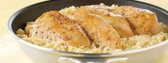 15 Minute Chicken and Rice Dinner Recipe Main Dishes with oil, boneless skinless chicken breast halves, condensed cream of chicken soup, water, Minute White Rice Pampered Chef Recipes, Baker Recipes, Kraft Recipes, Cooking Recipes, Rockcrok Recipes, Microwave Recipes, Quick Recipes, Rice Dishes, Food Dishes