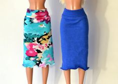 Two Pcs of  Skirts - knee length skirt, stretch cotton skirts