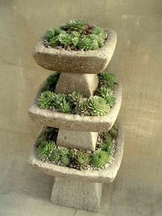 Teared hypertufa planters
