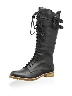 47% OFF Matiko Women's Noah Tall Lace-Up Boot (Black Leather/Black Pony)