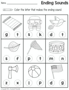 Sounds Worksheets Ending Sound Printable Shape Tracing Worksheets, Pre K Worksheets, Free Kindergarten Worksheets, Phonics Worksheets, Kindergarten Literacy, Early Literacy, Preschool Phonics, Preschool Plans, Jolly Phonics