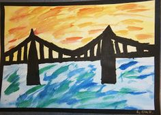 some of beautiful bridge silhouettes Lesson Background: My class have been engaged in a Technology unit for the past few week. Landscape Silhouette, Kids Silhouette, 3rd Grade Art, Grade 3, Your Sky, Water Background, Led Pencils, Bridge Design, Art Lessons Elementary