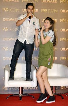 Kriti Sanon and Varun Dhawan at the launch of #ManmaEmotionJaageRe song from #Dilwale. #Bollywood #Fashion #Style #Beauty #Hot #Handsome