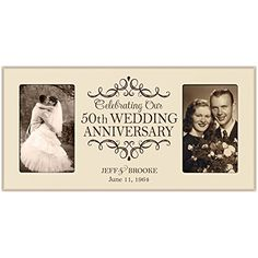 50th Anniversary Picture frame Gift Personalized 50th wedding anniversary with Couples names and anniversary dates Golden Anniversary Gifts Ivory * Visit the image link more details.