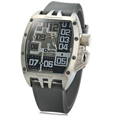 Oulm 3286 Rubber Band Male Sports Quartz Watch with Big Dial #>=#>=#>=#>=#> Click on the pin to check out discount price, color, size, shipping, etc. Save and like it!