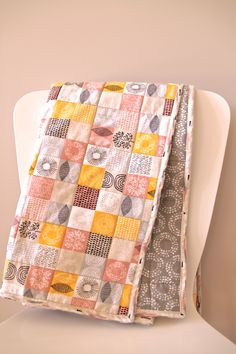Organic Cotton Baby Quilt - Rose Pink, Mustard, Taupe and Grey - SpringTime pattern by TheWeeOwl on Etsy