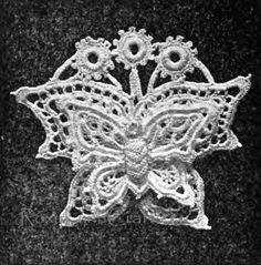 Irish Crochet Double Butterfly Motif applique Vintage PATTERN on Etsy, $3.95