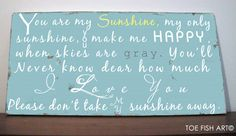 You Are My Sunshine Wood Sign -Distressed -Typography Word Art.