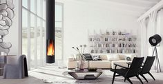 Hanging fireplace – design solutions for modern home heating systems Suspended Fireplace, Hanging Fireplace, Wood Fireplace, Fireplace Design, Fireplace Ideas, Layout Design, Futuristisches Design, Focus Fireplaces, Contemporary Design