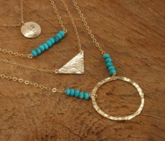 Gold Turquoise Necklace, Hammered Gold Circle Necklace, Kingman Turquoise and Gold Jewelry Southwestern Long Gold Turquoise Layered Necklace