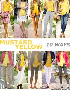 10 ways to wear mustard yellow - I feel like I should add some yellow tops to my closet.