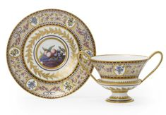 A SEVRES TWO-HANDLED CUP AND SAUCER<br><P>CIRCA 1794</P> | Lot | Sotheby's