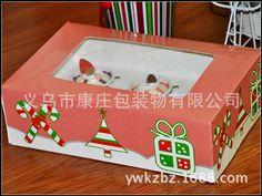 韩国烘培包装_韩国烘培包装 圣诞6粒马芬盒 送底托 - 阿里巴巴