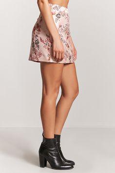Satin Floral Mini Skirt