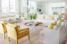Palm Beach Style Decorating, Decoded - Tons of white and pops of bright colors gives this living room a fresh, preppy Palm Beach vibe. Palm Beach Decor, Beach Chic Decor, Beach House Decor, Coastal Decor, Home Decor, Coastal Style, Modern Coastal, Beach Condo, Coastal Curtains