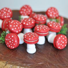 Last month a customer asked us to come up with a way to include the boys coming to her daughter's Fairy Garden party. We couldn't have been… Garden Party Decorations, Birthday Party Centerpieces, Fairy Birthday Party, Party Garden, Woodland Party, Macarons, Mushroom Decor, Fairy Tea Parties, Shower Bebe
