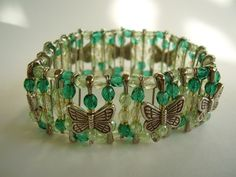 Spring Forest Green Butterfly Beaded Safety Pin Stretch Bracelet