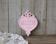 Repainted iron moose hook?Pink shabby chic welcome