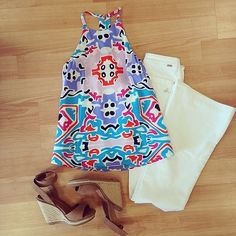 Annie Griffin's Mollie tank in Sevilla + white jeans + neutral wedges = perfect summer outfit from Elle Boutique