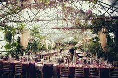 an indoor/outdoor wedding reception in a greenhouse never looked so high class