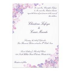 5x7 Wedding Invitation Purple Hydrangea Floral