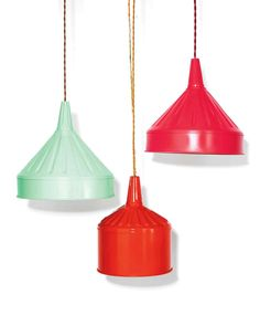 Money-Saving Home DIYs: 12 Things You Should Make Instead of Buy | Martha Stewart Living - Make your own lighting fixtures (yes, lighting fixtures!). We used spray-painted metal funnels and a cord set. Genius? Maybe! Try it for yourself!