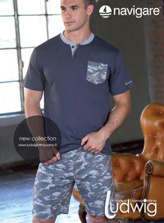 Navigare homewear! Proseguono le novità per i Pigiami da Uomo corti 2015! L'estate di Navigare è anche camouflage! #pigiami #moda #navigare #estate http://www.ludwigintimouomo.it/intimo-navigare/445-pigiama-corto-uomo-navigare-art-140486.html
