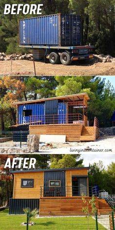 Shipping Container Sheds, Cargo Container Homes, Shipping Container Home Designs, Building A Container Home, Container Buildings, Container House Plans, Container House Design, Small House Design, Truck House