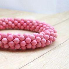 Pink Stone Bead Crochet Bracelet, Pink Bangle Bracelet, Crochet Jewelry, Rhodonite Jewellery