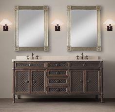 mueble de baño de madera y metal