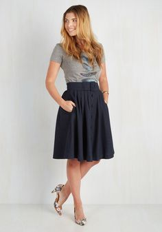 Intern of Fate Skirt in Navy. With a confident strut and clad in this profesh midi, you leave a fab first impression at the office! #blue #modcloth