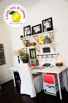 How to organize the home office   A Bowl Full of Lemons {I love the wall decor/functionality above the desk}