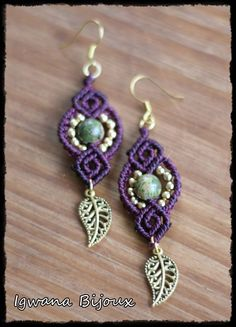 "Earrings completely woven by hand in macrame with Unakite beads, and ""leaves"" Golden Length (without fasteners): approx. Macrame Bag, Macrame Knots, Macrame Jewelry, Macrame Bracelets, Macrame Earrings Tutorial, Earring Tutorial, Jewelry Crafts, Handmade Jewelry, Diy Fashion Projects"