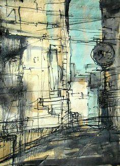 "Saatchi Art Artist Marko Milovic; Drawing, ""Street corner"" #art"