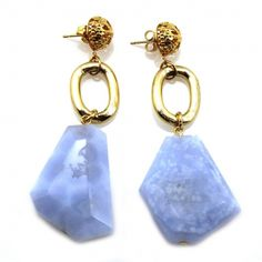 Emilia Miss Narcissist Earrings. Chalcedony, Gold Aluminum and Gold Filigree Dome Statement Earrings.    Statement jewelry is the perfect solution for providing basic outfits with a boost of high style. Especially ideal for the in-betweens of life such as work, formal luncheons and dinners, weddings, fundraisers and well, you get the idea, it's what you wear when you're not lounging at home or attending formal balls. Often, what is most desired in these situations, are classic …