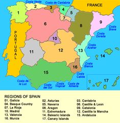 Regions, Provinces and Comarcas of Spain Map Of Spain, Spain And Portugal, Bilbao, Spain History, France 2, Balearic Islands, Travel Maps, Culture Travel, Spain Travel