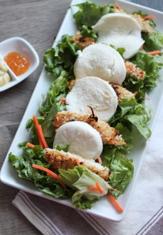Coconut Chicken & Mozzarella Salad with Honey Mustard Dressing ...