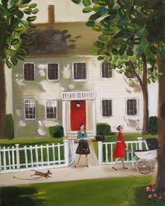 'Belinda Never Really Felt At Home In That Big White House on Chestnut Lane' by Janet Hill Studio
