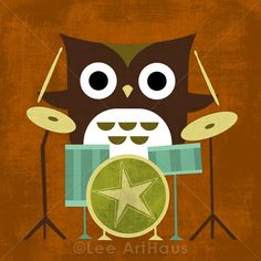Retro Owl with Drums