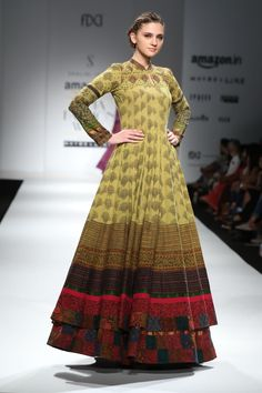 A stunning floor length, layered anarkali displayed at an AIFW Spring / Summer 2016 event. India Fashion Week, Lakme Fashion Week, Frock Fashion, Fashion Dresses, Women's Fashion, Indian Attire, Indian Wear, Pakistani Outfits, Indian Outfits