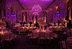 7. Reception lighting: Mixture between amber/purple uplighting so that it looks like a sunset, to start the reception