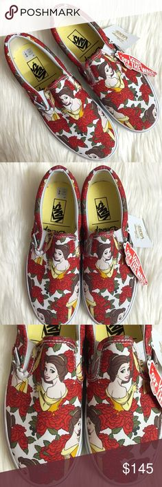 Vans Disney Beauty and The Beast Belle Slip On Brand new with tags and box, available in women's size 6, 6.5, 7 and 8. Size 8 has a tiny smudge mark on the side of the sole. These Vans Disney Beauty and The Beast Belle Slip Ons Sneakers are sold out and highly sought after! This is a must have for any fan! Features Belle with a gorgeous background of red roses! Perfect to wear to Disney World or Disneyland. If you need another size, please leave me a message with the size you are looking…