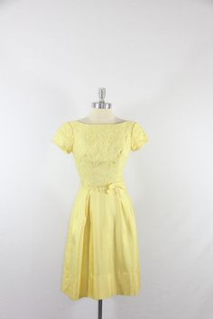 1960s Vintage Dress  Yellow Silk and Lace by VintageFrocksOfFancy, $160.00