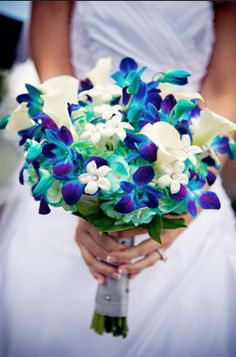 bouquet Blue orchids, Aqua hydrangeas, white calla lilies, stephanotis with rhinestones. beautiful bouquet ~ Photography by troyg. Perfect Wedding, Our Wedding, Dream Wedding, Wedding Images, Wedding Stuff, Wedding Dress, Blue Orchids, Dendrobium Orchids, White Flowers