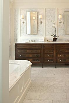 & White: Grounding the Clouds elegant bathroom double vanity. Note 3 can lights above and sconces with up lightingelegant bathroom double vanity. Note 3 can lights above and sconces with up lighting Master Bathroom Vanity, Silver Bathroom, Brown Bathroom, Bathroom Vanities, Bathroom Modern, Bathroom Fixtures, Classic Bathroom, Contemporary Bathrooms, Wood Bathroom