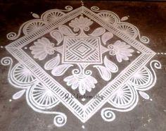 Rangoli...Indumathy Rangoli Designs Latest, Beautiful Rangoli Designs, Kolam Designs, Henna Designs, Rangoli Ideas, Kolam Rangoli, Simple Rangoli, Colour Rangoli, Wall Painting Flowers