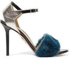 Charlotte Olympia Capella Shearling And Metallic Textured-Leather Sandals #charlotteolympiaheelsmetallicleather