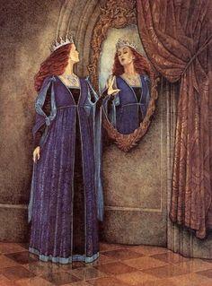 Perhaps an atc with just the mirror? Lynch: Snow White 1 (Branca de Neve - rainha olhando-se no espelho) Snow White Art, Snow White Mirror, Brothers Grimm, William Blake, Fairytale Art, Children's Book Illustration, Book Illustrations, Botanical Illustration, Faeries